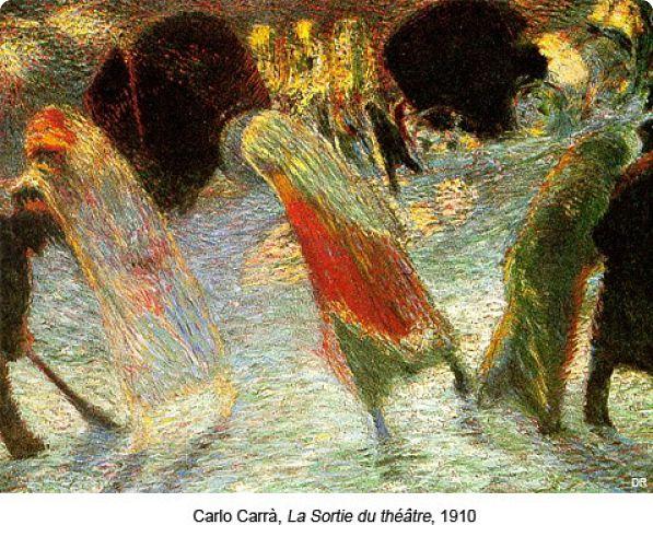 Carlo Carrà: La Sortie du théâtre,1910